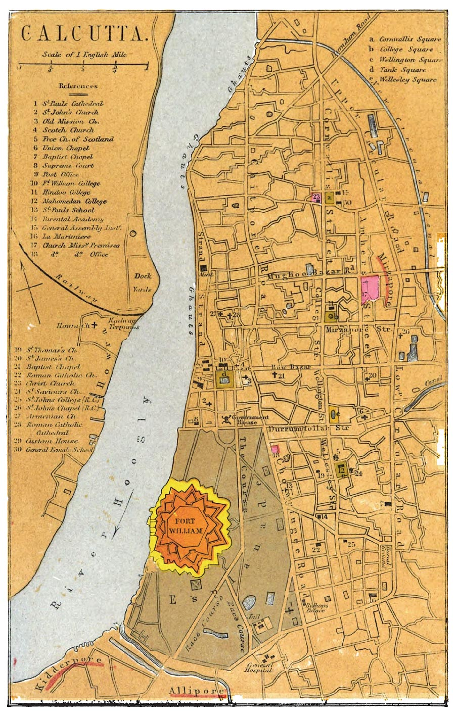 Calcutta Map with references to churches and colleges 1862