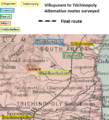 Villupuram to Trichinopoly – Alternative routes surveyed.png