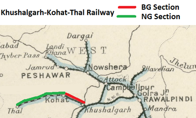 'Khushalgarh-Kohat Section' and 'Kohat-Thal Section'